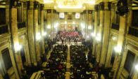La Filarmónica de Montevideo anoche en el Salón de los Pasos Perdidos. Foto: M. Bonjour