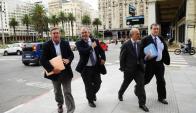 Bezossi, Heber, García y Baceda, en martes en Torre Ejecutiva para reunión con Vázquez. Foto: Archivo.
