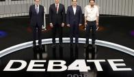 Rajoy, Sánchez, Rivera e Iglesias en el escenario del debate. Foto: Reuters