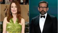 Steve Carell y Julianne Moore presentadores de los Oscar. Fotos: AFP