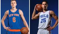 New kids on the block. El letón Porzingis es la nueva figura de Adidas; Simmons, el número del Draft, fichó por Nike.