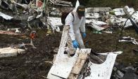 El lugar en que cayó el avión con los jugadores de Chapecoense. Foto: Twitter @Policiantioquia