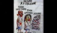 """Viñeta del semanario francés """"Charlie Hebdo"""" sobre terremoto en Italia. Foto: Twitter @CesRivas"""