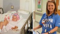Amelia Ballard de niña y ahora. Fotos: Children's Healthcare of Atlanta Facebook
