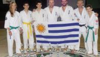 Celestes. Los competidores en el Sudamericano de karate. Foto: IKF Uruguay