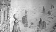 """Foto: Obra de Alfredo Ghierra """"La ciudad en las nubes""""."""