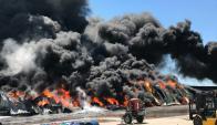 Explosión en una fábrica de pintura en Barros Blancos. Foto: cedida a El País