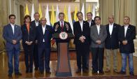 Santos brindó una conferencia luego de los resultados. Foto: EFE / Presidencia de Colombia
