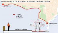 Propuesta para ciclovía. Foto: El País