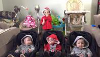 La madre de cuatro bebés cuenta cómo se las arregla. Foto: Facebook The Baby Gang
