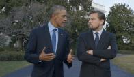"""Leonardo DiCaprio con Barack Obama en """"Antes que sea tarde"""". Foto: Difusión."""