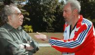 Castro con Gabriel García Márquez en 2007. Foto: AFP.