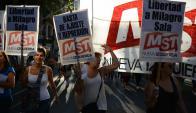 La Cámpora y organizaciones cercanas al kirchnerismo protestaron. Foto: AFP