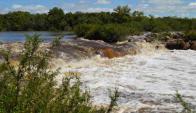Cascada del río Queguay, donde ocurrió la tragedia. Foto: Daniel Rojas.