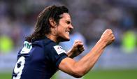 Edinson Cavani festejando el gol en la final de la Copa de la Liga. Foto: AFP