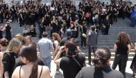 Intervención de Mujeres de negro. Foto: Archivo El País.