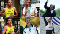 Dolores Moreira, Néstor Nielsen, Nicolás y Martín Cuestas, Alejandro Foglia y Déborah Rodríguez, los seis uruguayos clasificados a los Juegos Olímpicos de Río 2016.