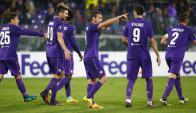 Sebastián Cristóforo festejando su gol en la Fiorentina. Foto: Reuters
