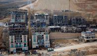 Las obras de construcción del asentamiento situado en las cercanías de Ramallah. Foto: AFP