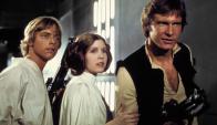 Carrie Fisher junto a Mark Hamill y Harrison Ford en Star Wars. Foto: 20th Century Fox.