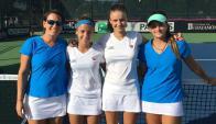 Equipo. Las jugadoras uruguayas junto a la capitana Virginia Sadi en la Fed Cup 2016.