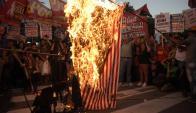 Protestas contra visita de Obama a Argentina. Foto: AFP