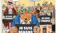 """Nobles y mafiosos sostienen un cartel con el texto """"Je suis Panamá"""" en la nueva edición de Charlie Hebdo."""