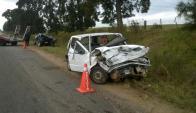 Accidente fatal en ruta 8 en Cerro Largo el 5 de abril de 2015. Foto: Néstor Araújo.