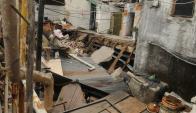 Derrumbe en una pensión de Montevideo. Foto: Francisco Flores