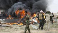 Uno de los golpes del Estado Islámico hace pocos días en Irak contra un vehículo. Foto: Reuters.