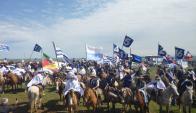 Homenaje en Masoller si caballería gaucha. Foto. Freddy Fernández