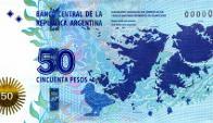 Billete 50 pesos argentinos. Foto: Banco Central Argentina