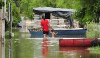 La crecida del río Uruguay no baja y preocupa que siga lloviendo. Foto: F. Ponzetto