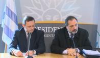Senador Álvaro Delgado y el diputado Jorge Gandini, tras reunión con Tabaré Vázquez. Foto: Captura/ Presidencia