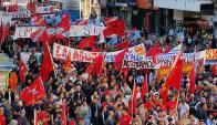 Acto del Pit-Cnt en Plaza Independencia. Foto: Ariel Colmegna