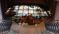 Se está reparando el vitraux del segundo piso. Foto: Darwin Borrelli