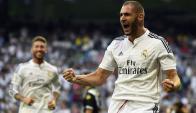 Karim Benzema celebra el 1-0 de Real Madrid ante Córdoba. Foto: AFP