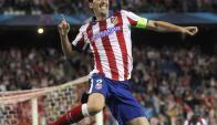 Diego Godín y su gol para Atlético ante Malmö. Foto: EFE