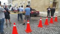 Policía creó ayer una zona de exclusión en frente al Juzgado Penal de Rocha. Foto: E.González.