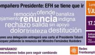 Afiche de Redes Frenteamplistas con el anuncio de solicitud de renuncia del ministro de Defensa Eleuterio Fernández Huidobro. Foto: @Redesfa