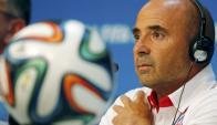 Jorge Sampaoli en la conferencia de prensa de hoy. Foto: Reuters