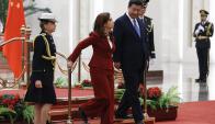Fernández fue recibida por el presidente chino, Xi Jinping. Foto: EFE