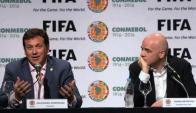 Alejandro Domínguez y Gianni Infantino. Foto: EFE