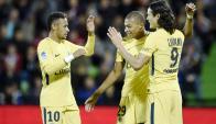 Neymar, Mbappé y Cavani, el tridente del PSG. Foto: AFP