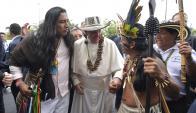 Villavicencio: El papa Francisco ayer con víctimas del conflicto. Foto: Reuters