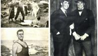 Tres momentos del gran Angelito: En una escena de la fallida película Puñoz y nobleza; posando para la tapa de la revista Mundo Uruguayo y junto a su amigo Carlos Gardel.