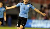 Federico Valverde en pleno festejo de su gol con Uruguay