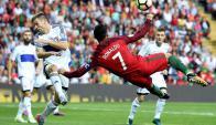 Cristiano Ronaldo anotó tres goles y uno de ellos fue una obra de arte. Foto: AFP