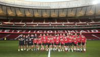 El primer entrenamiento del Atlético de Madrid en el nuevo estadio Wanda Metropolitano. Foto: EFE