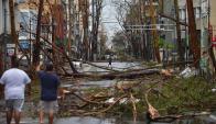 Una calle de San Juan cubierta de árboles como consecuencia del Huracán. Foto: AFP